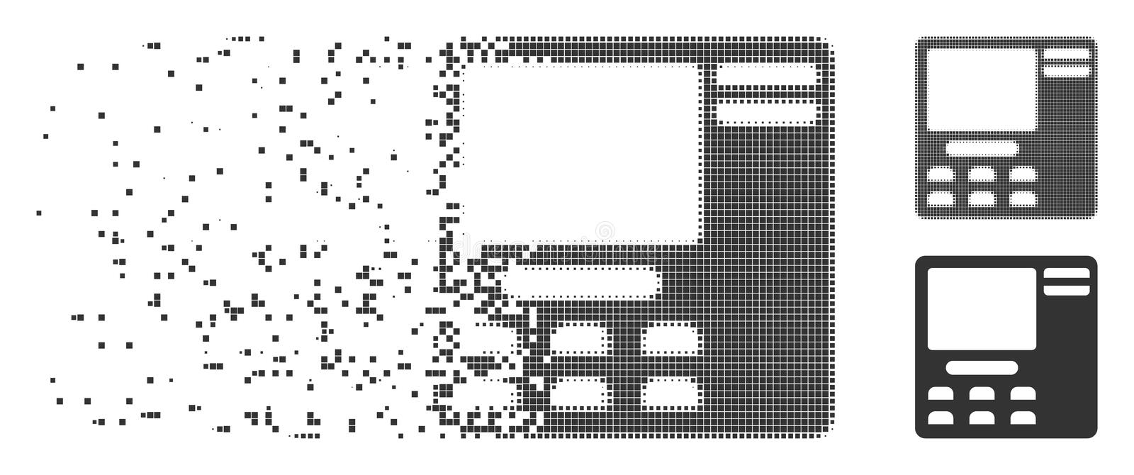 Shredded Pixel Halftone Bank ATM Icon. Gray vector bank ATM icon in dissolved, dotted halftone and undamaged whole versions. Square dots are used for stock illustration