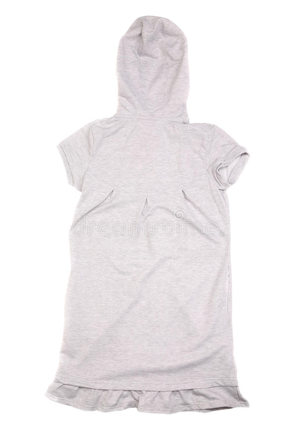 Gray vest with hood back view royalty free stock image