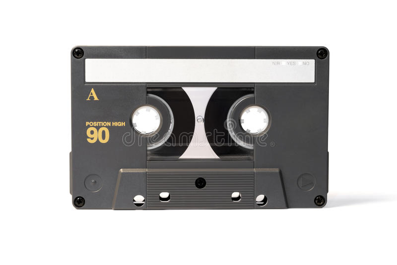 Gray vintage audio cassette tape stock photo