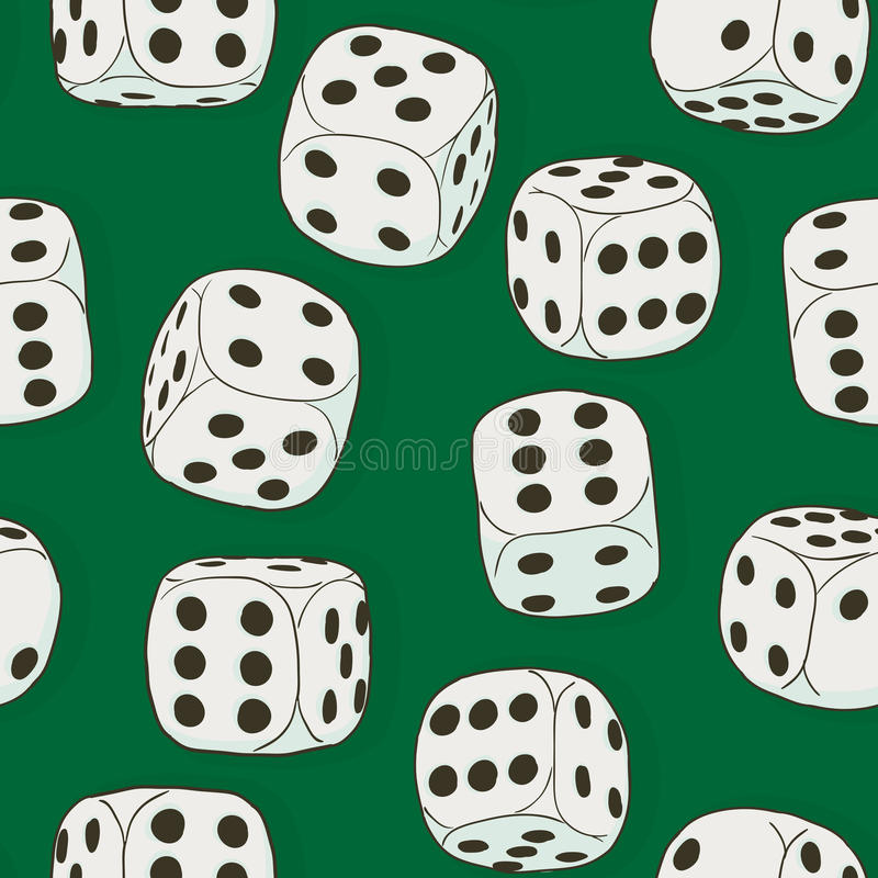 Gray vintage dices on the green background. Seamless original co stock illustration