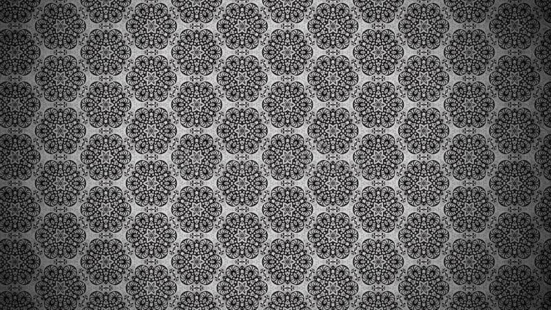 Gray Vintage Floral Background Pattern escuro ilustração do vetor