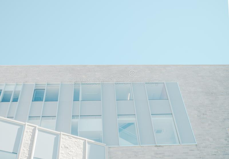 Gray Wall With Windows With Silver Frame stock photography