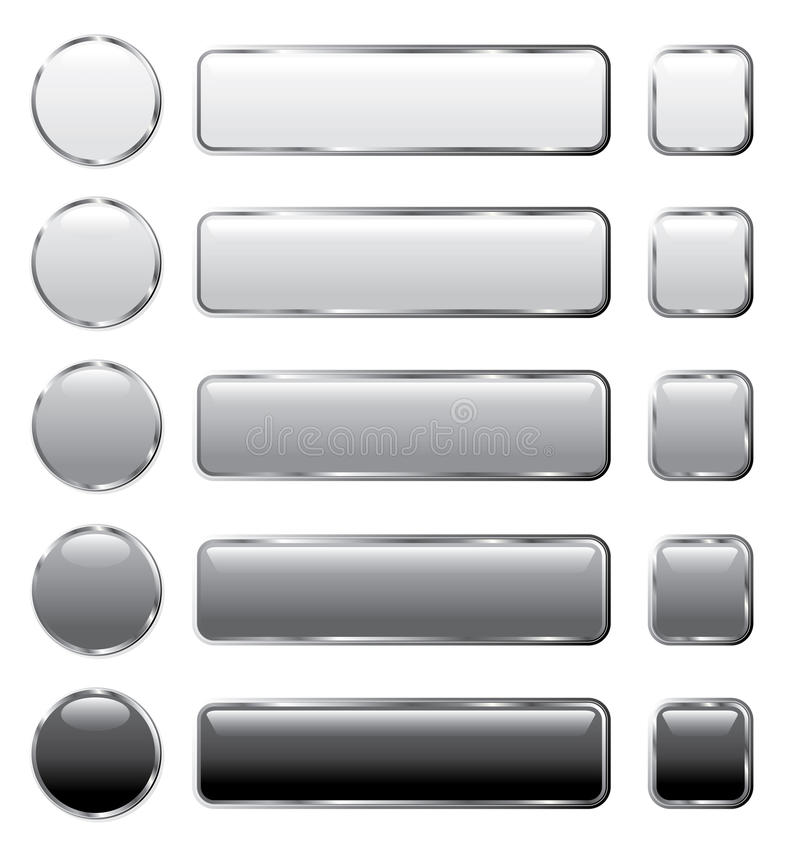 Gray Web Buttons Long Royalty Free Stock Photography