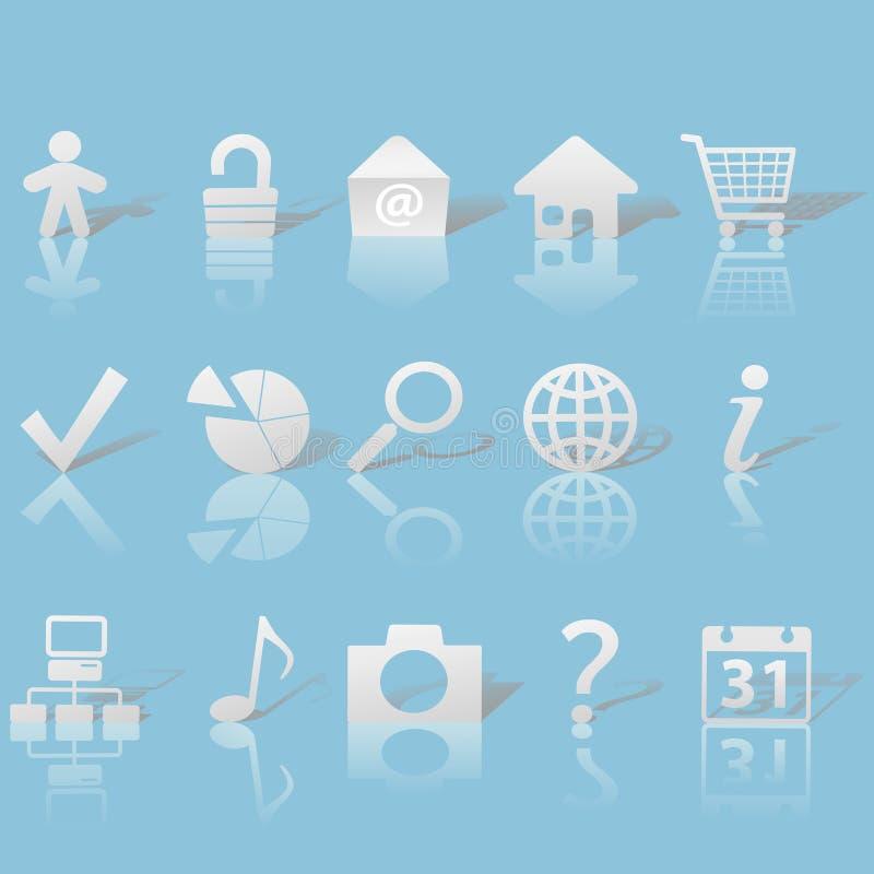 Gray Web Icons Set on Blue vector illustration