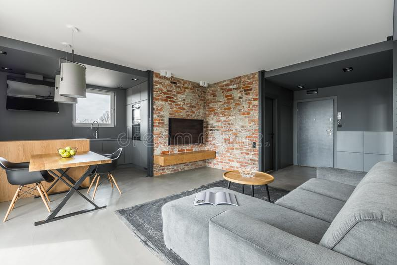 Gray and white apartment. In industrial style with open living room and cooking area royalty free stock photography