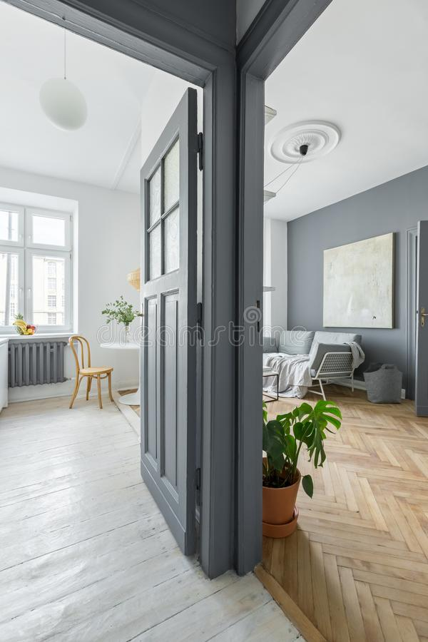 Gray and white apartment. With wooden floor and art stock photography
