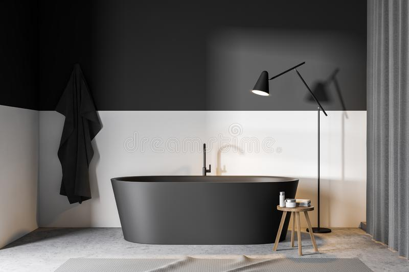Gray and white bathroom with tub royalty free illustration