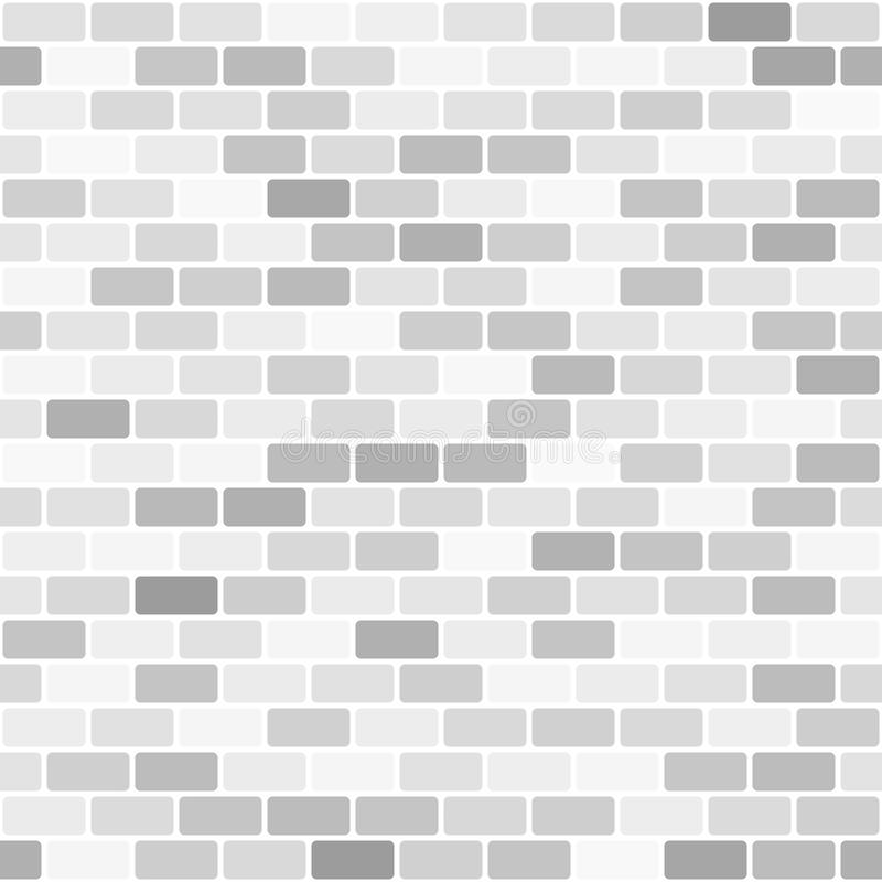 Gray and white brick wall pattern. Seamless vector background stock illustration