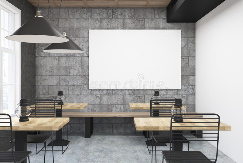 download gray and white cafe interior poster stock illustration image 94930046 - Large Cafe Interior