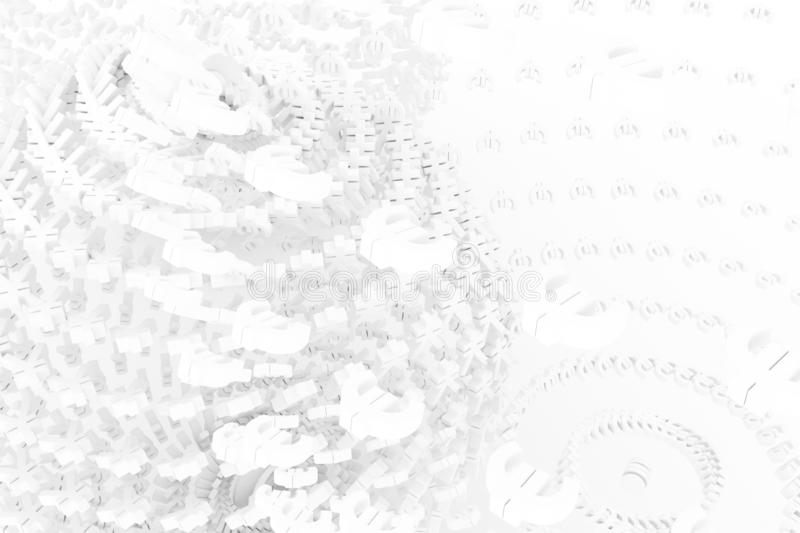 Gray or white with color backdrop 3D rendering. Illustrations of. Sphere or planet, made up from currency character, CGI typography. For web page, wallpaper stock illustration