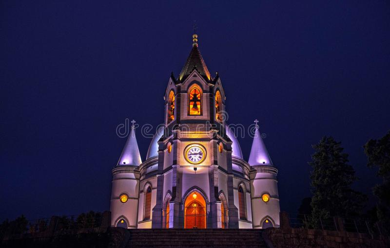 Gray and White Concrete Cathedral With Lights Photo stock photography