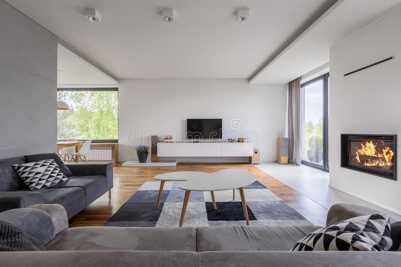 Family living room with fireplace. Gray and white, family living room with fireplace, tv and sofa stock image