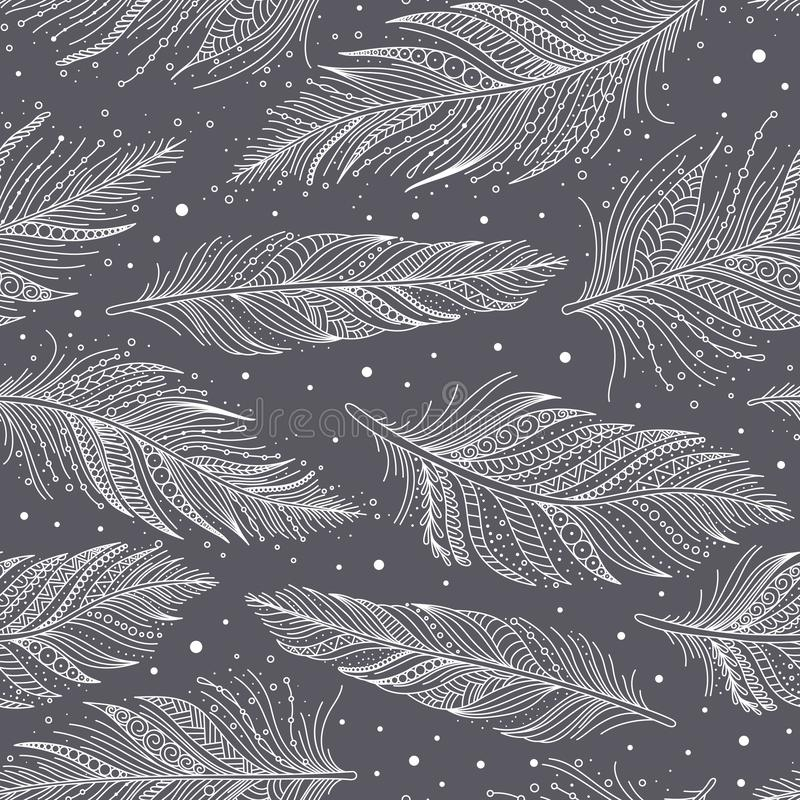 Gray and white feathers pattern hand drawn art vector illustration