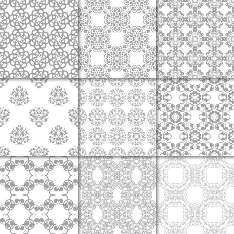 Gray and white floral ornaments. Collection of seamless patterns vector illustration