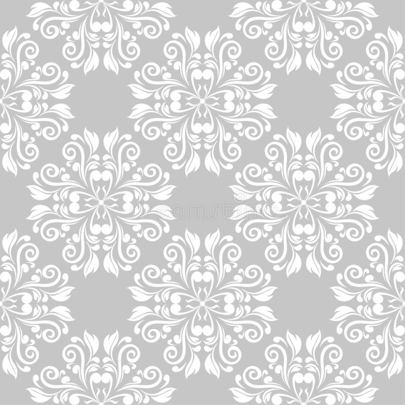 Gray and white floral seamless pattern stock image