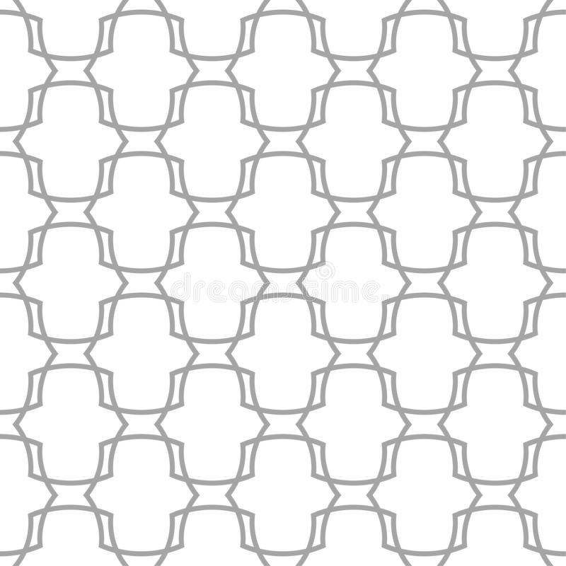 Gray on white geometric ornament. Seamless pattern royalty free illustration
