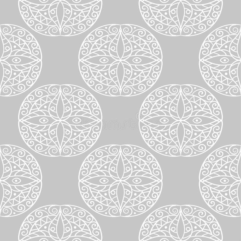 Gray and white mandala geometric ornament. Seamless pattern stock illustration