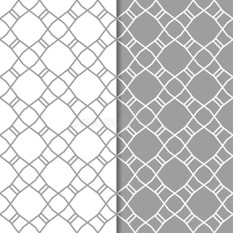 Gray and white geometric ornaments. Set of seamless patterns stock illustration