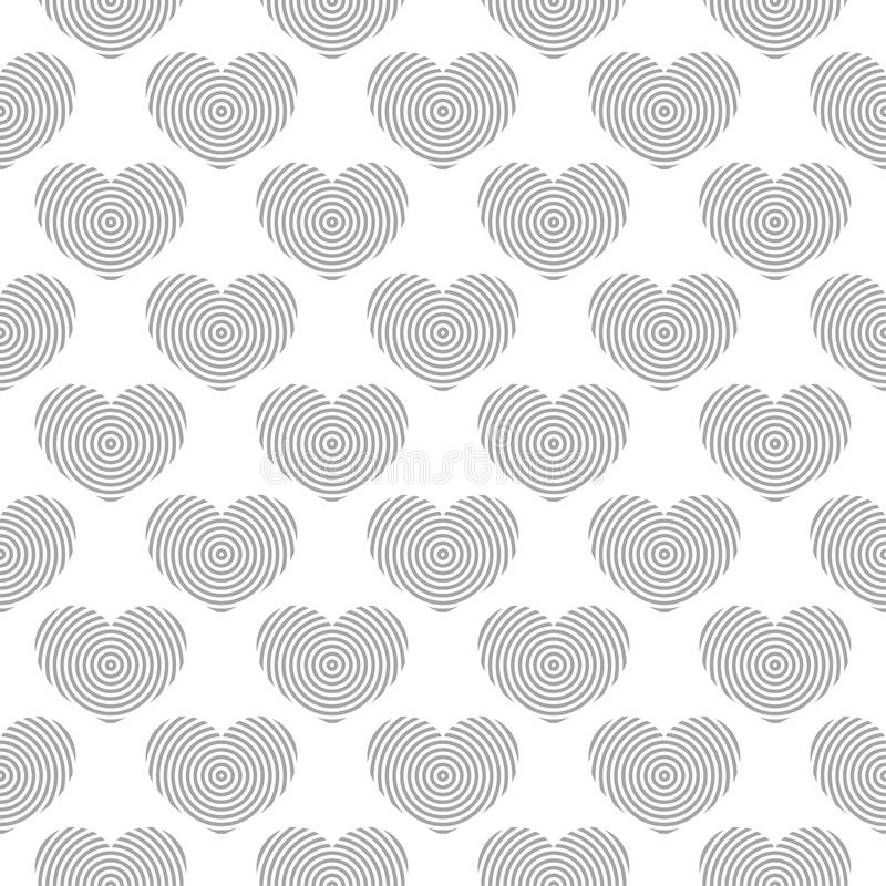 Gray and white heart symbols as seamless pattern. Romantic background vector illustration