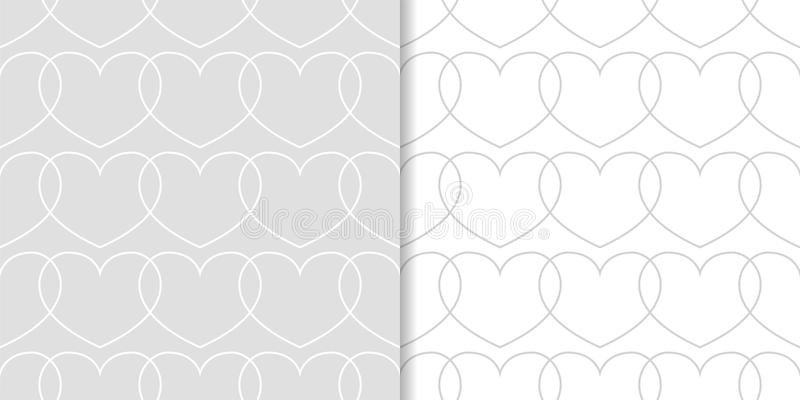 Gray and white hearts as seamless patterns. Set of romantic backgrounds stock illustration