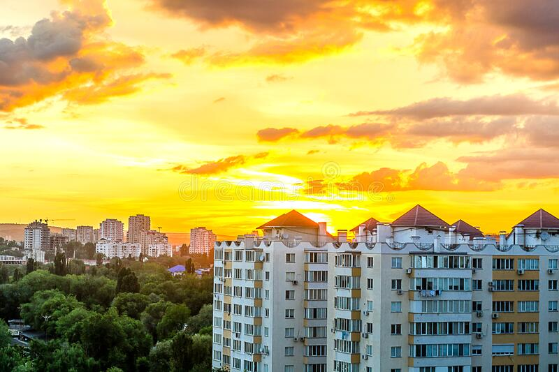 Gray White High Rise Building during Sun Set royalty free stock photography