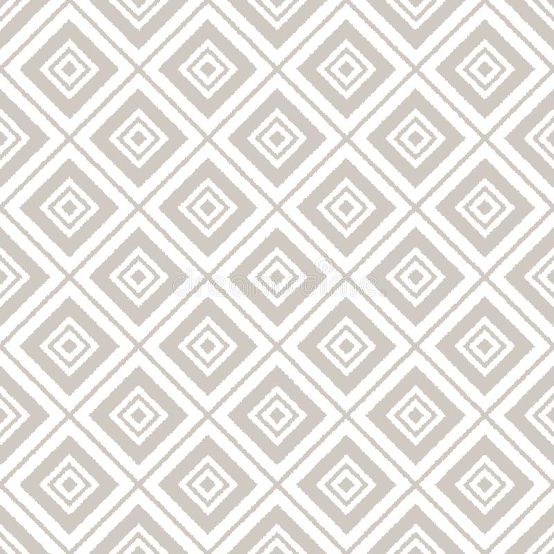 Gray and white ikat ornament geometric abstract fabric seamless pattern, vector vector illustration