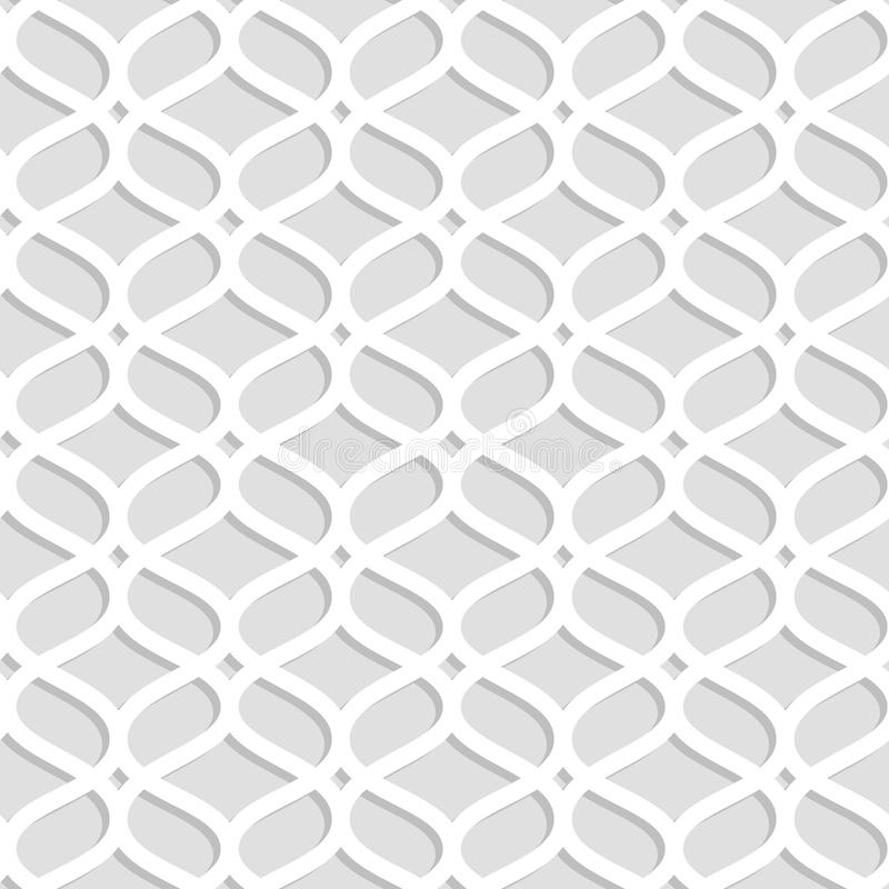 Gray and white laser cut paper geometric lacy seamless pattern, vector stock illustration