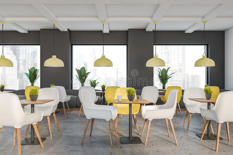 Gray and white loft cafe interior vector illustration