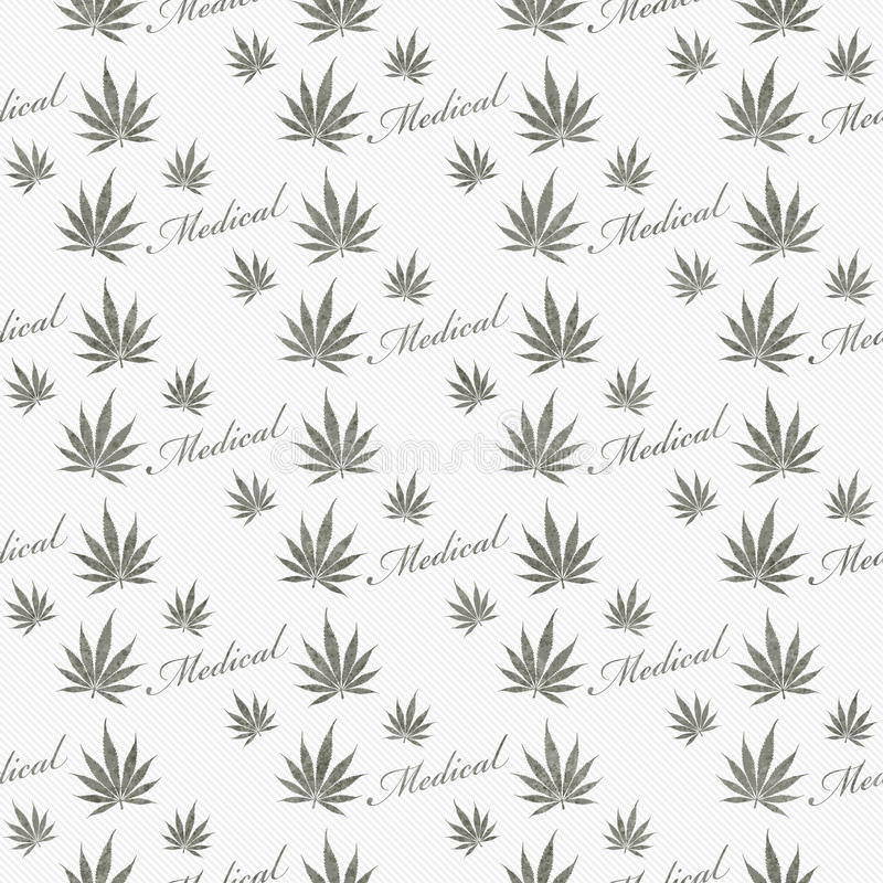 Gray and White Medical Marijuana Tile Pattern Repeat Background vector illustration