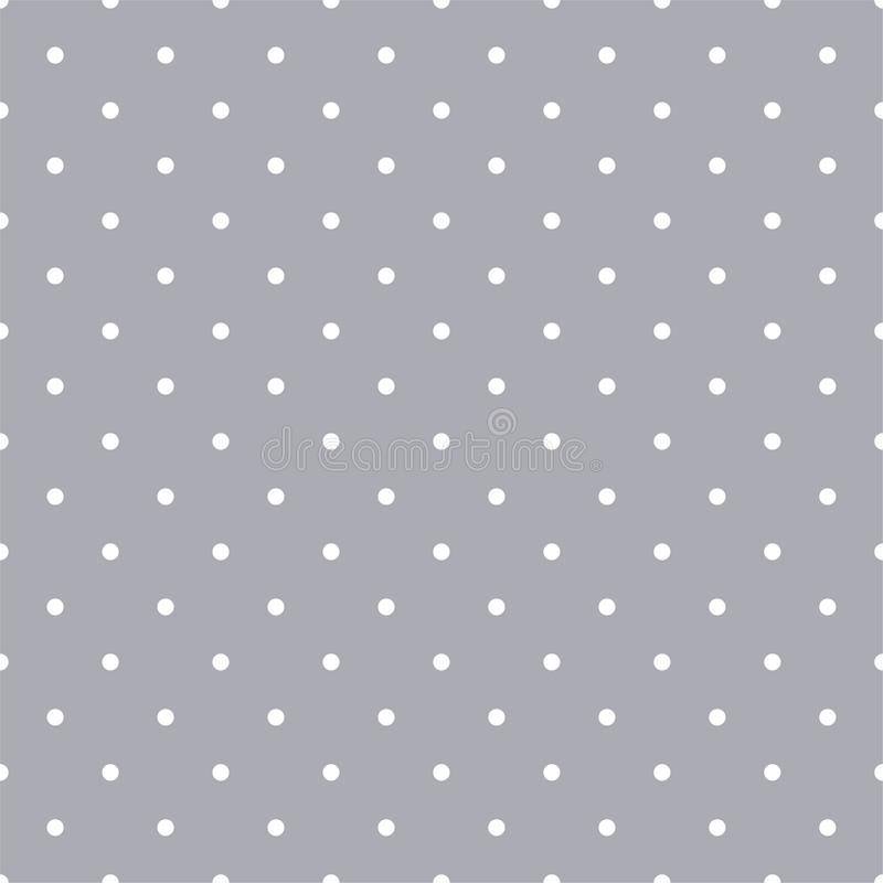 Gray and White Polka Dots Seamless Pattern. Classic white polka dots on trendy gray background seamless pattern stock illustration