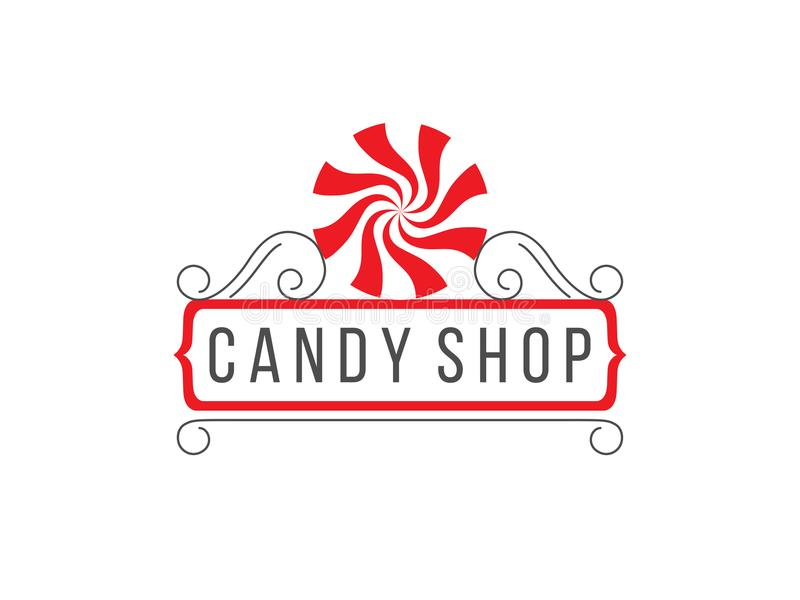 Candy shop logo. Gray, white and red candy shop logo isolated on white background stock illustration