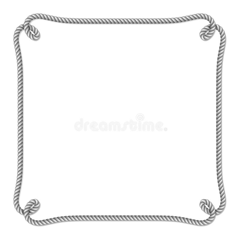 Gray white rope woven vector border with rope knots, vertical vector frame. Isolated on white background stock illustration