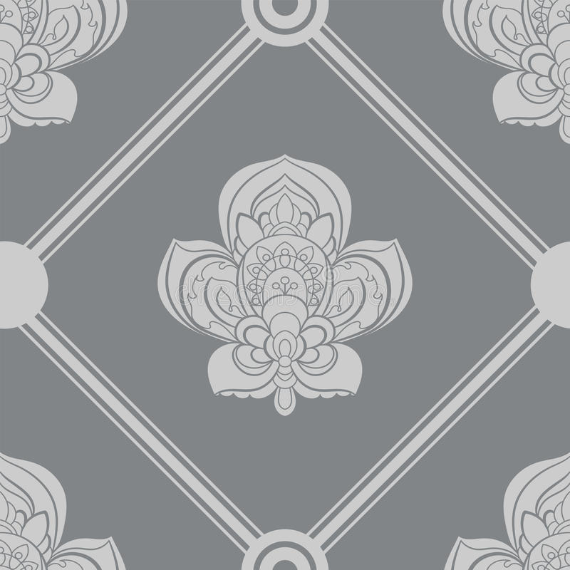 Gray and white seamless geometric pattern, repeating texture. line background. Contemporary graphic design, ethnic royalty free illustration