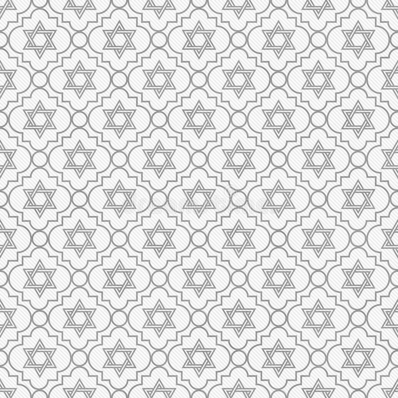 Gray and White Star of David Repeat Pattern Background stock illustration