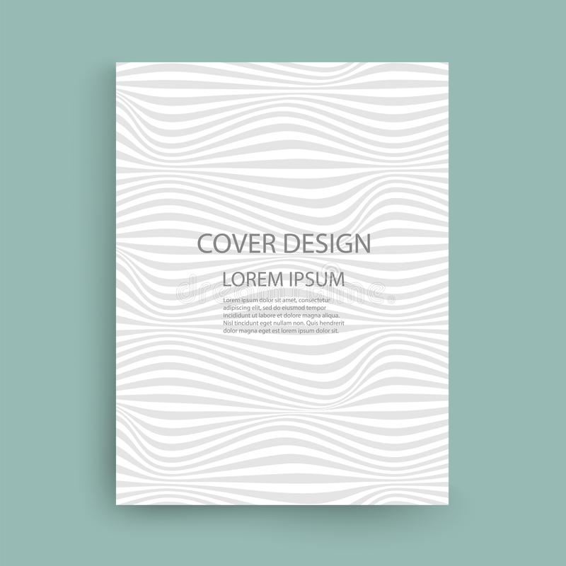 Gray and white wavy lines pattern on green background royalty free illustration