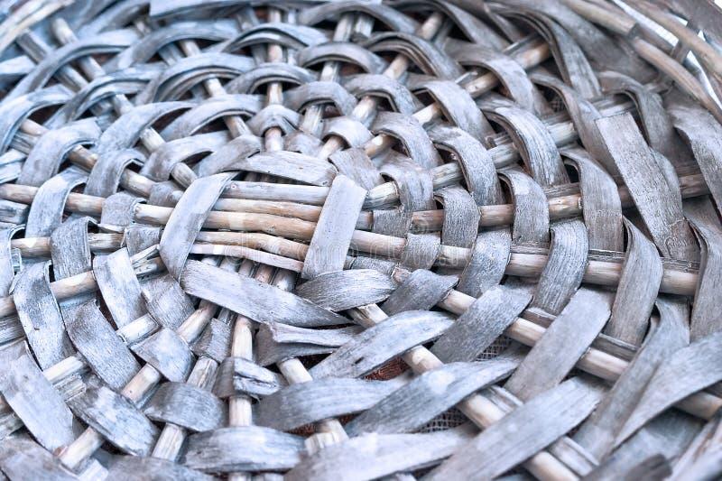 Gray Wicker Basket Base vazio, teste padrão circular, close up foto de stock royalty free