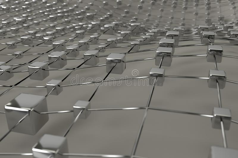 Gray wireframe metallic cubes mesh with ball wave landscape abstract background. Big data 3d illustration. royalty free illustration
