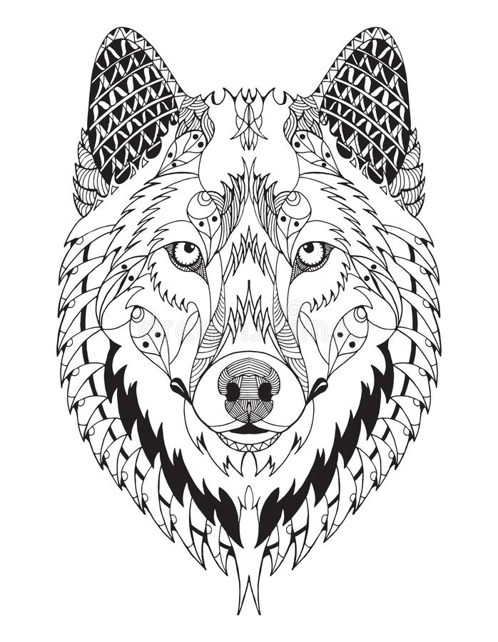 Free Gray Wolf Head Zentangle Stylized Royalty Free Stock Photography - 66132337