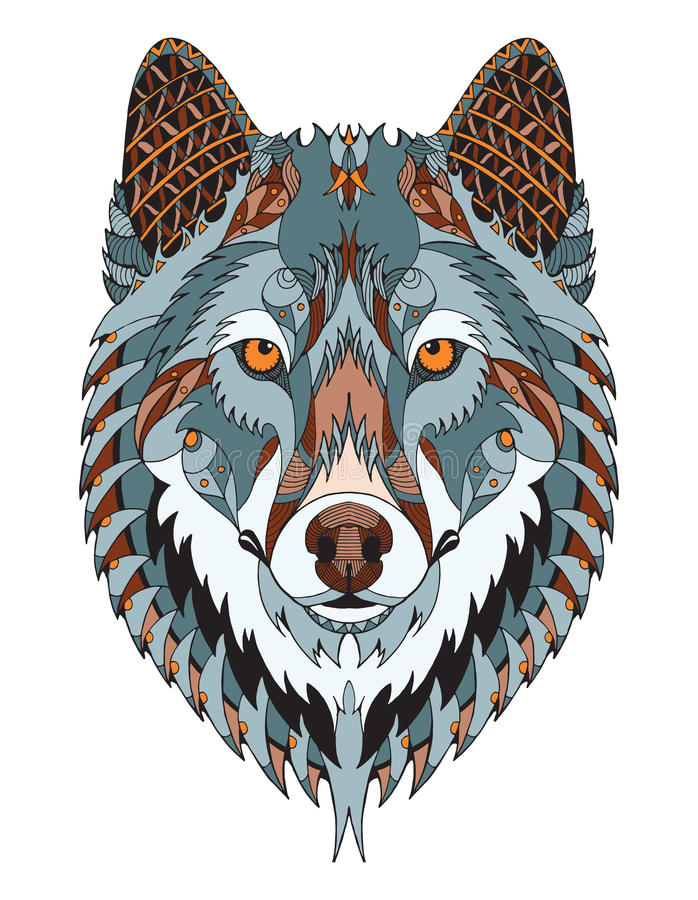 Gray wolf head zentangle stylized, vector, illustration, freehand pencil, hand drawn, pattern. Zen art. Ornate vector. Color. Print for t-shirts vector illustration