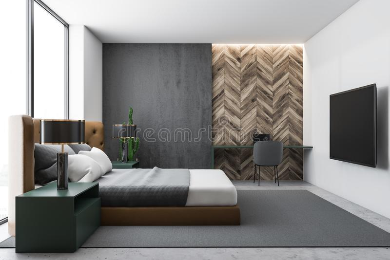 Gray and wood bedroom interior with TV. Interior of stylish bedroom with white walls, leather bed, modern TV with flat screen and home office with computer desk vector illustration