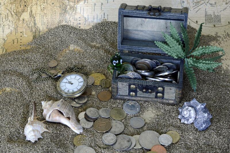 Gray Wooden Coin Box With Green Leaf Plant On Gray Sand Free Public Domain Cc0 Image