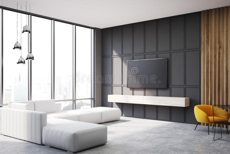 Gray and wooden living room tv set and sofa side. Gray and wooden living room corner with a TV set hanging on the wall and a narrow sofa near a panoramic window royalty free illustration