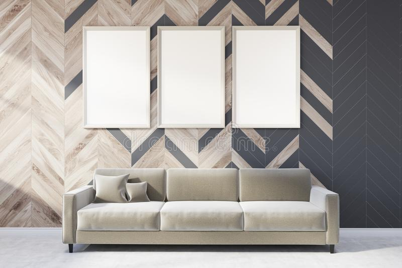 Gray and wooden living room, poster gallery, sofa vector illustration
