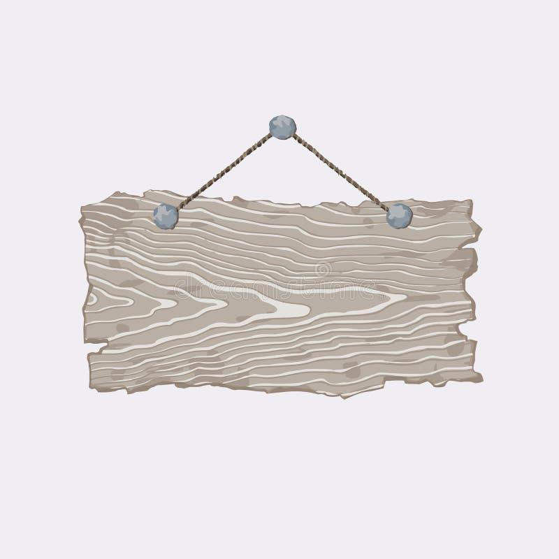 Gray Wooden Sign stock de ilustración