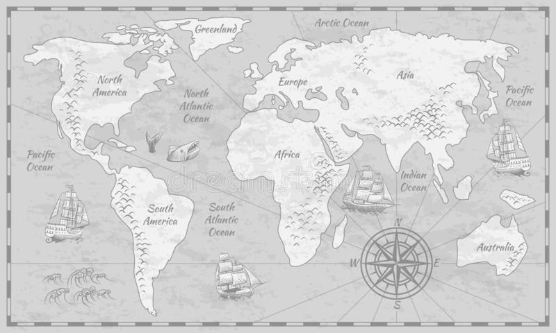 Gray world map. Earth antiquity paper map with continents ocean sea old sailing vector globe background. Gray world map. Earth antiquity paper map with vector illustration