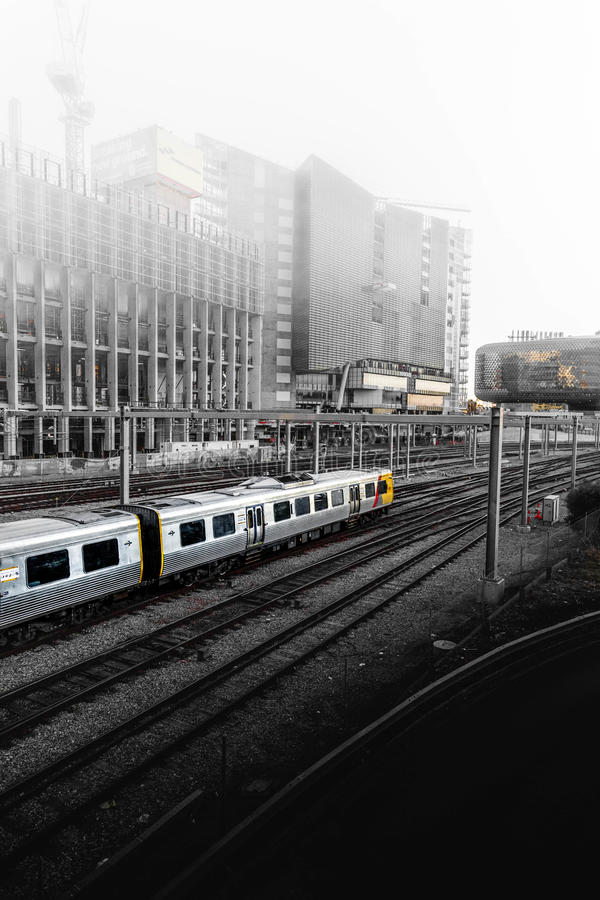 Gray Yellow And Red Cable Train Travelling During Fog Surrounded City Free Public Domain Cc0 Image