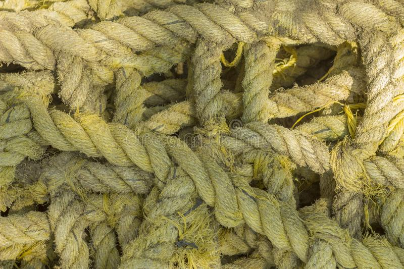 Gray yellow thick sea rope lies in a pile close-up. rough surface texture. A gray yellow thick sea rope lies in a pile close-up. rough surface texture royalty free stock images