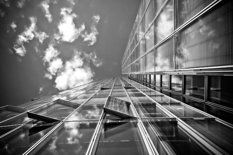 Grayscale of Building Durngdaytime stock image