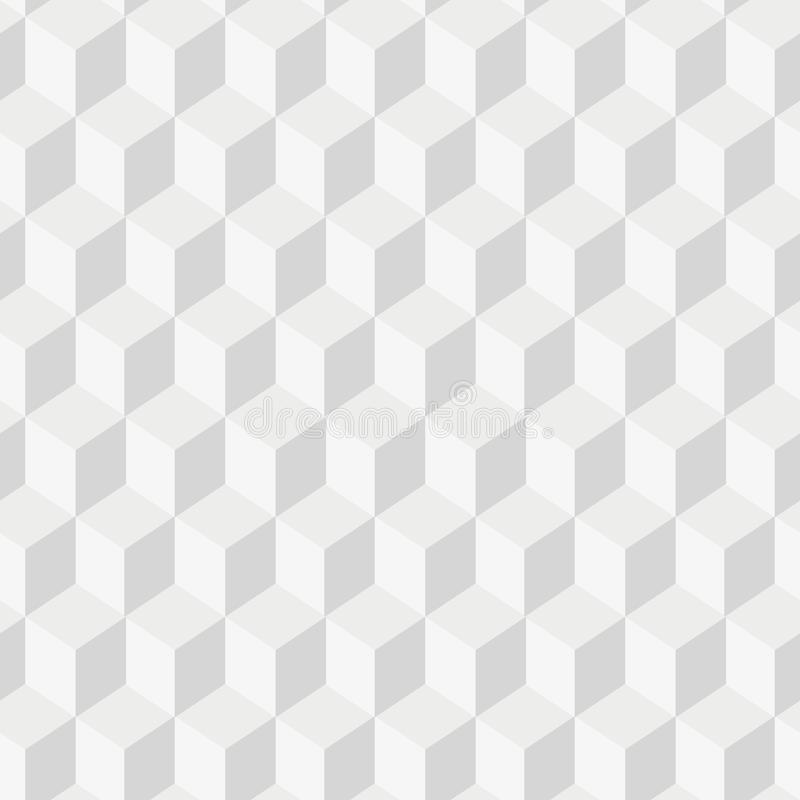 Grayscale 3d Cubes minimal, repeatable pattern simple seamless, spatial geometry, vector graphics stock illustration