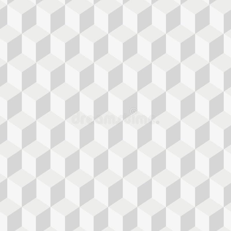 Grayscale 3d sześciany minimalni, powtarzalna deseniowa prosta bezszwowa, przestrzenna geometria, wektorowe grafika ilustracji